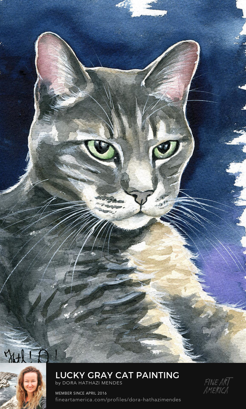 Lucky Gray Cat Painting by Dora Hathazi Mendes cat art prints