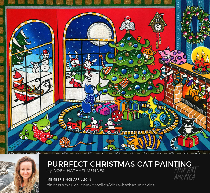 purrfect christmas cat painting puzzle for catlovers Wall Art