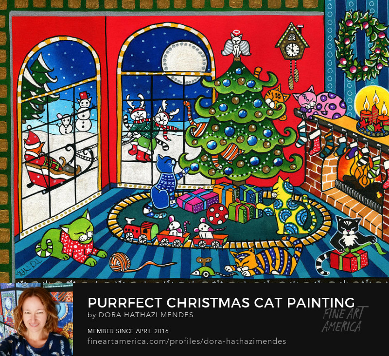 Purrfect Christmas cat painting