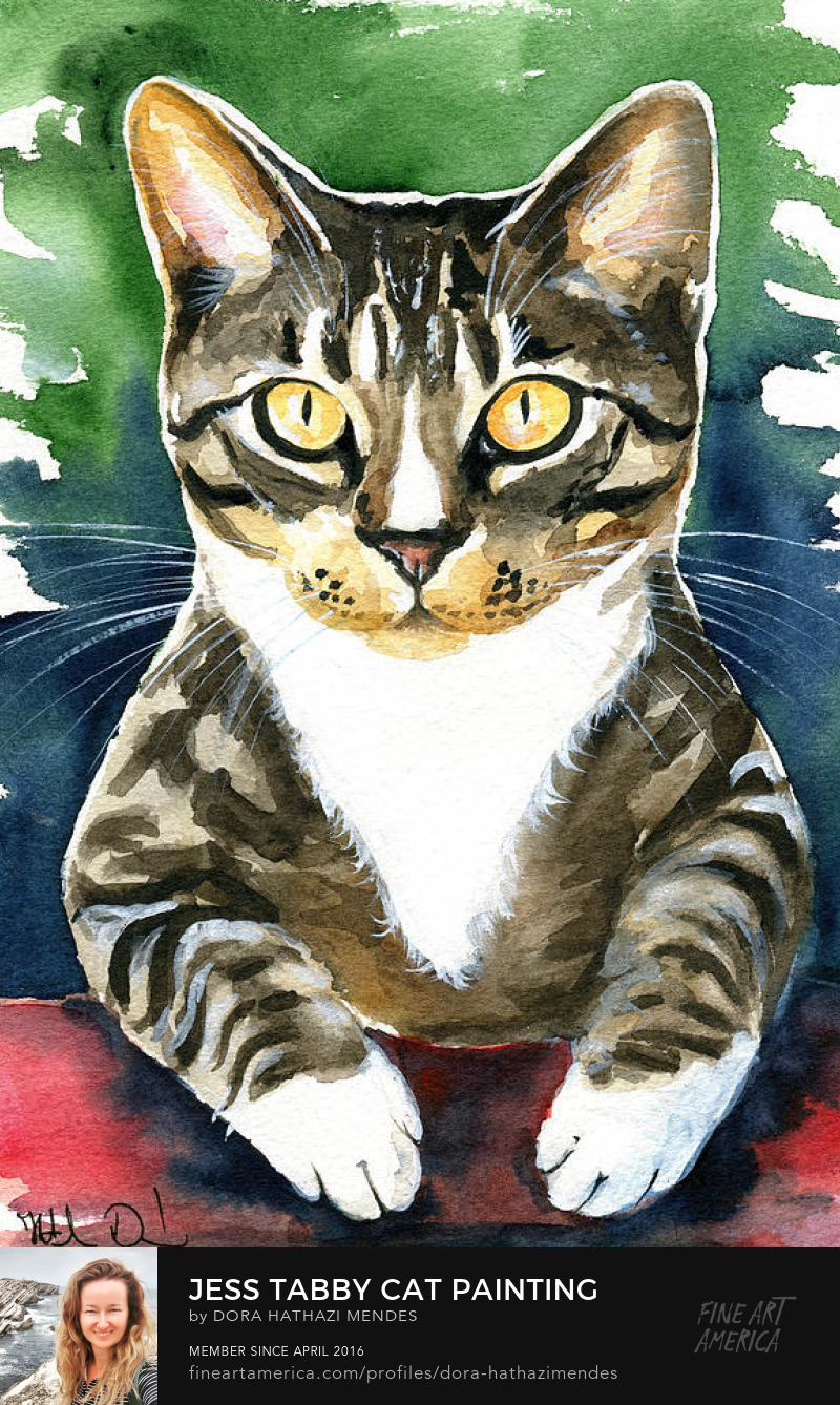 Jess Tabby Cat art by Dora Hathazi Mendes