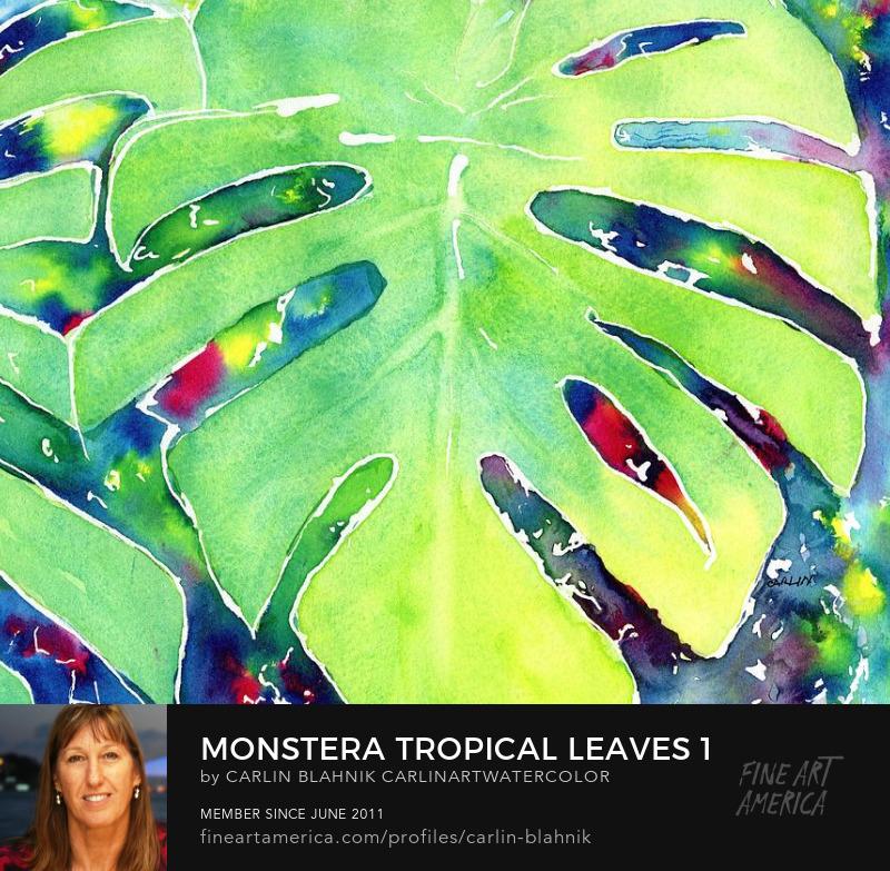 Tropical Palm Leaves Watercolor Art Prints by Carlin Blahnik