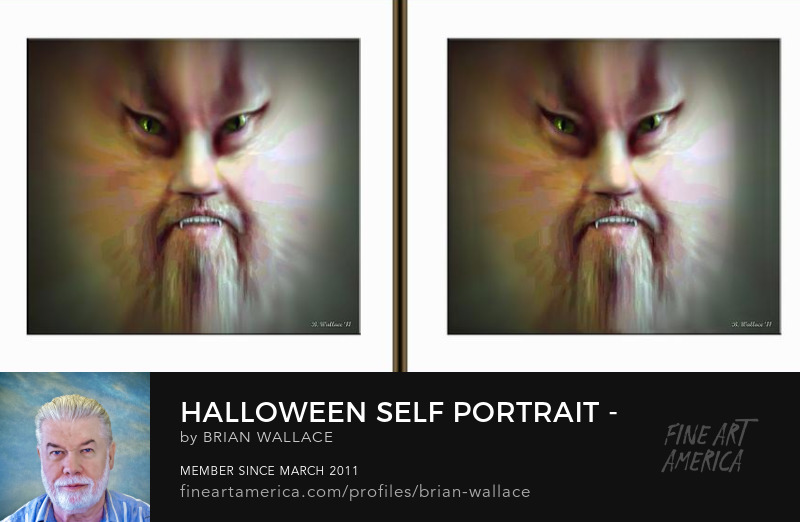 Halloween Self Portrait - Gently cross  your eyes and focus on the middle image by Brian Wallace