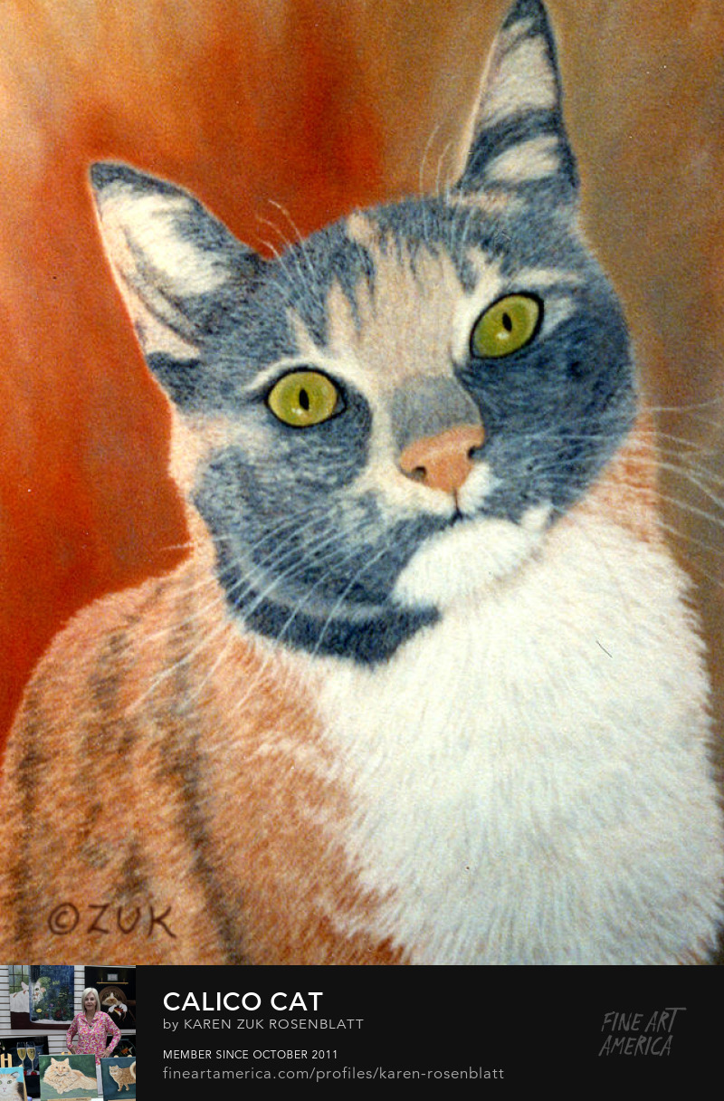 Calico Cat Pastel Painting