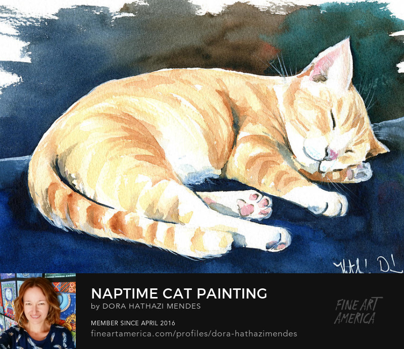 naptime cat painting by Dora Hathazi Mendes