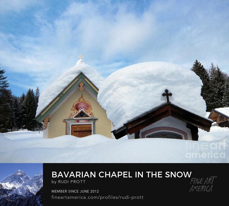 chapel in the snow by Rudi Prott