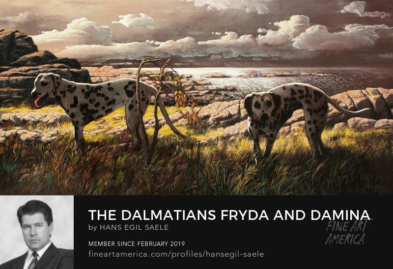 hans egil saele painting dalmatian dogs seascape Art Prints