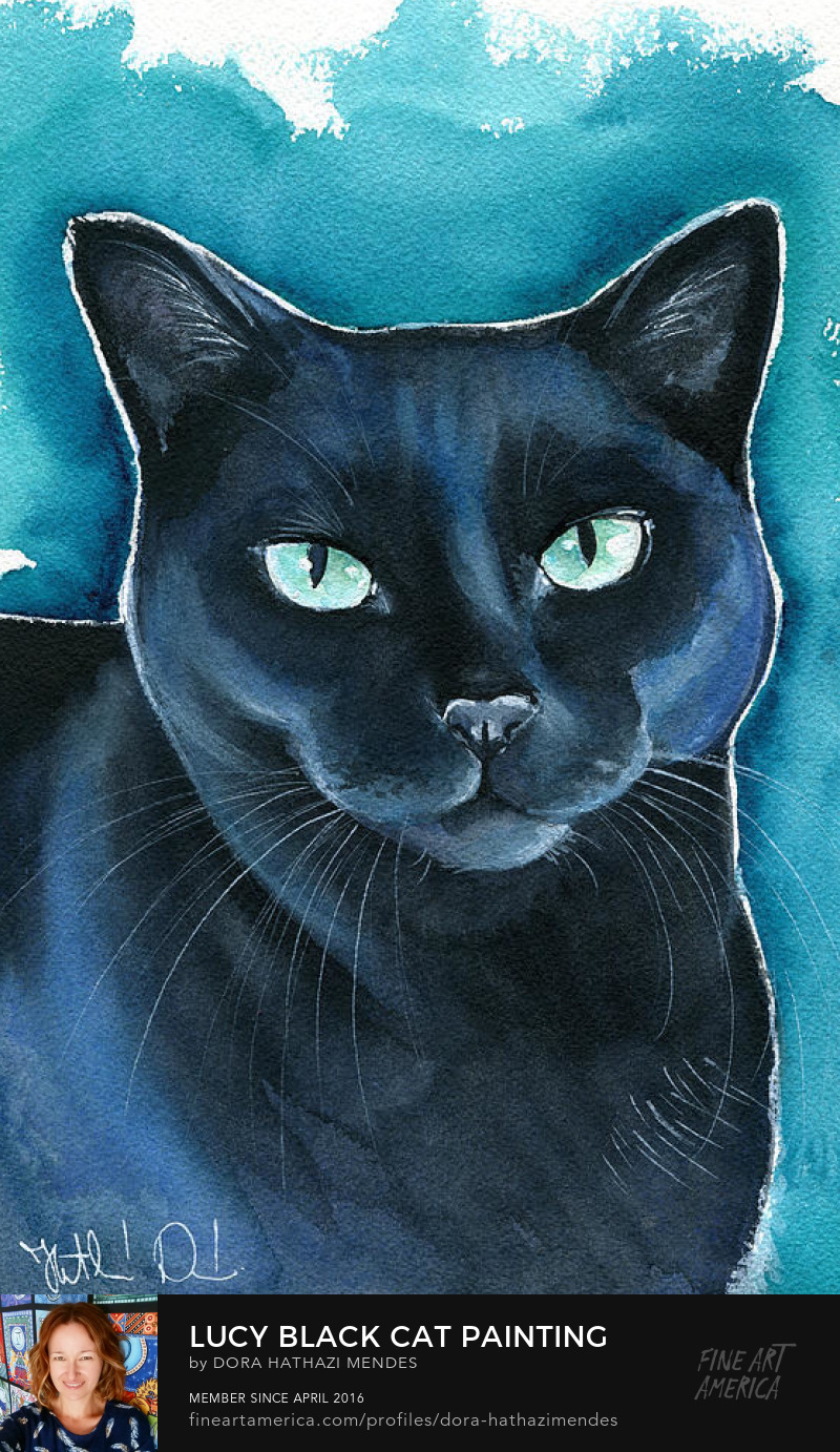 Lucy black cat watercolor painting by Dora Hathazi Mendes