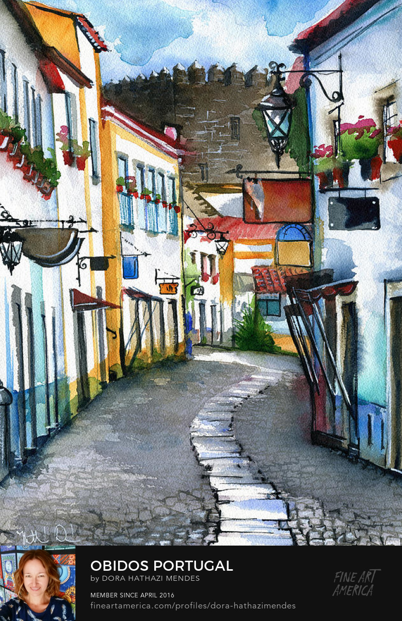 Portuguese village watercolor painting art by Dora Hathazi Mendes