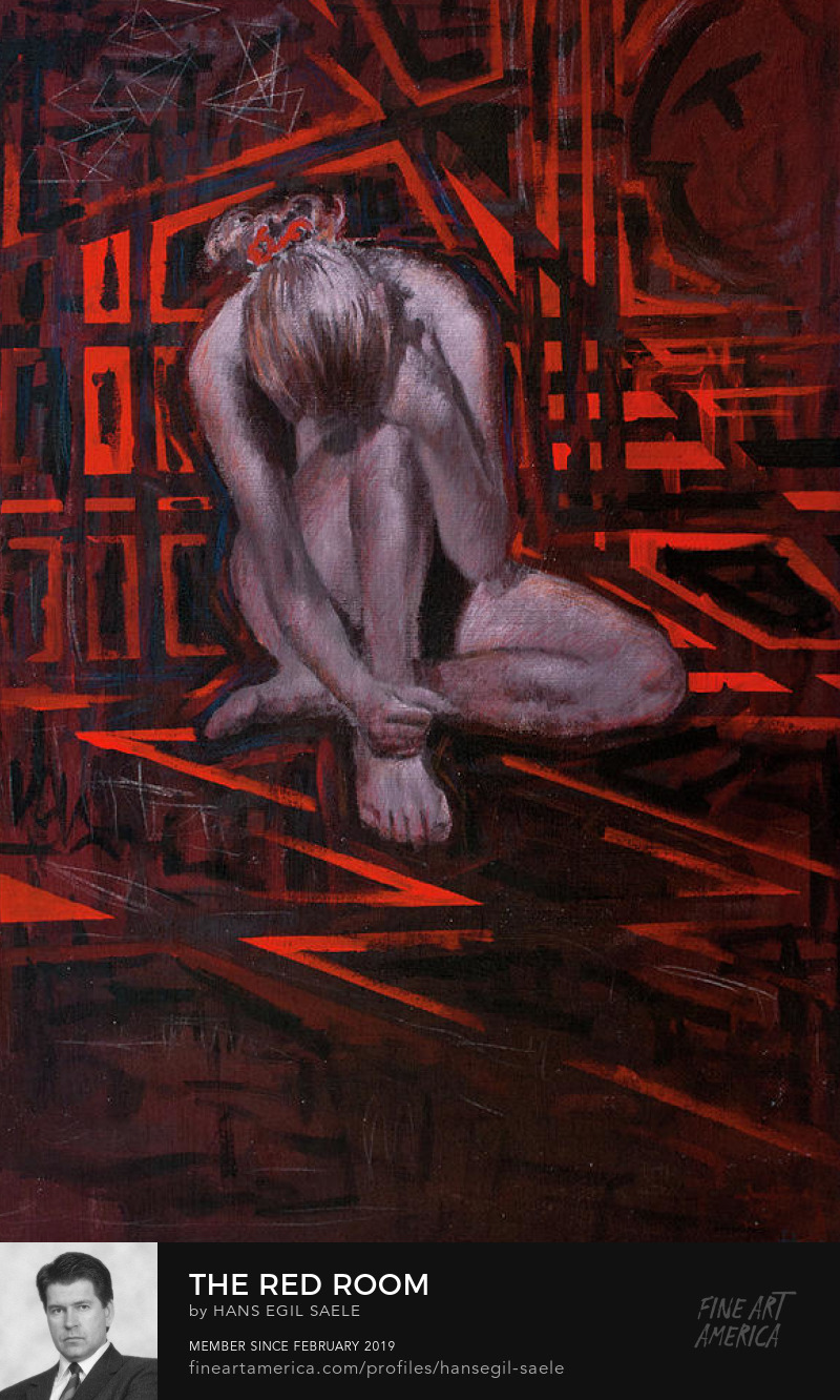 hans egil saele painting red room art