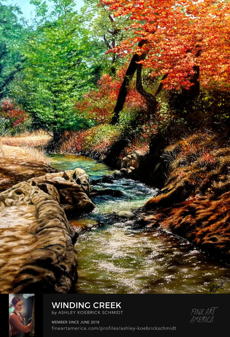 Winding Creek Peaceful Vibrant Landscape Painting by Ashley Koebrick Schmidt