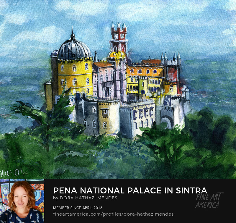 Pena Castle in Portugal Watercolor painting