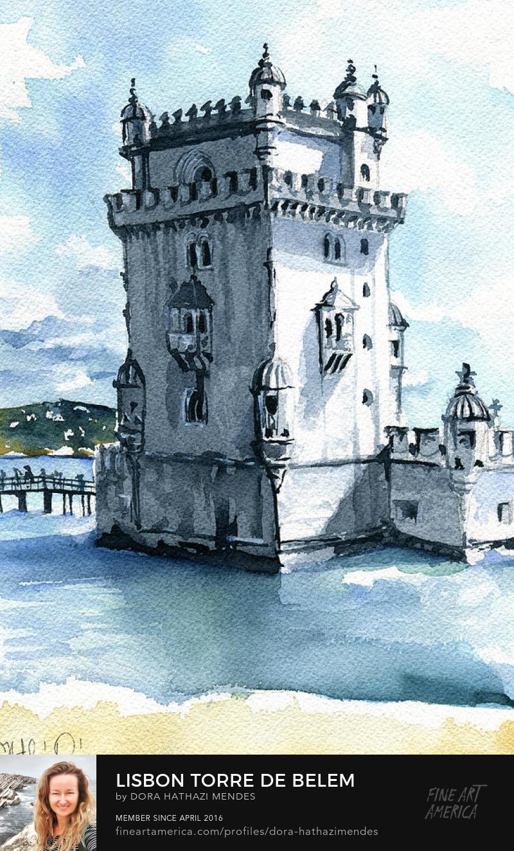 Lisbon Torre De Belem watercolor painting