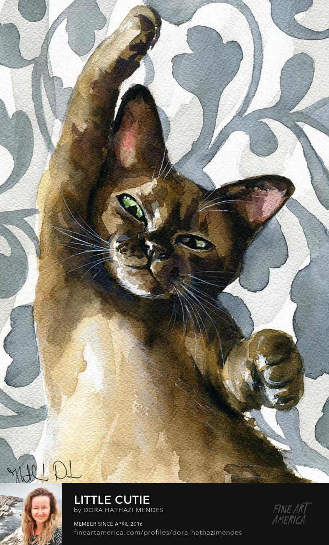 Little Cute Watercolor cat painting