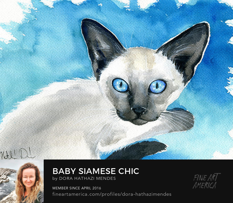 baby Siamese watercolor painting