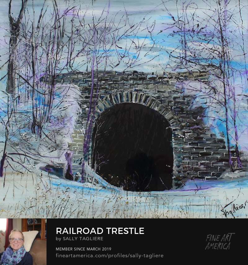 "Art Prints a scenic painting from the foothills of the Adirondacks, ""Railroad Trestle"" is located in #Trenton,NewYork"