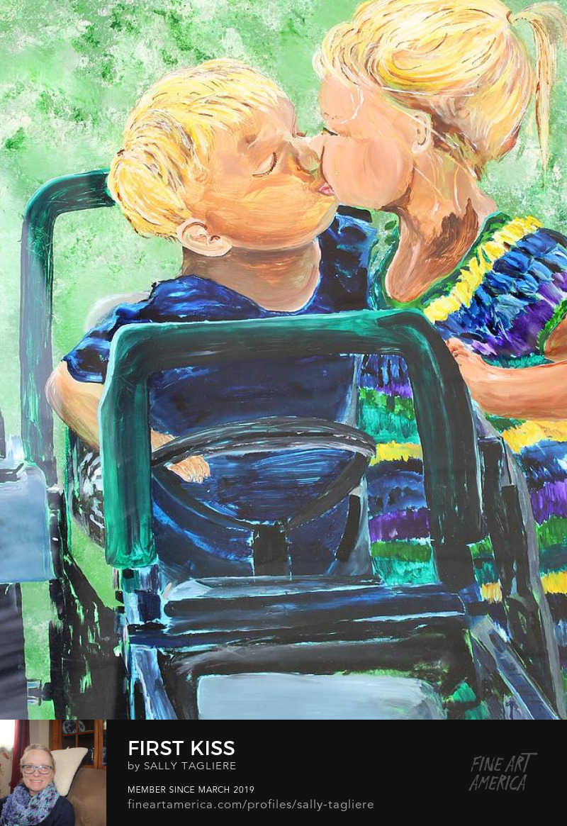 Art Prints painting of two toddlers being affectionate.