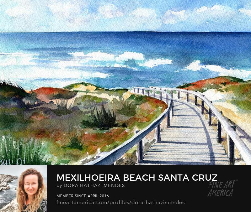 Mexilhoeira Beach Santa Cruz Portugal watercolor painting