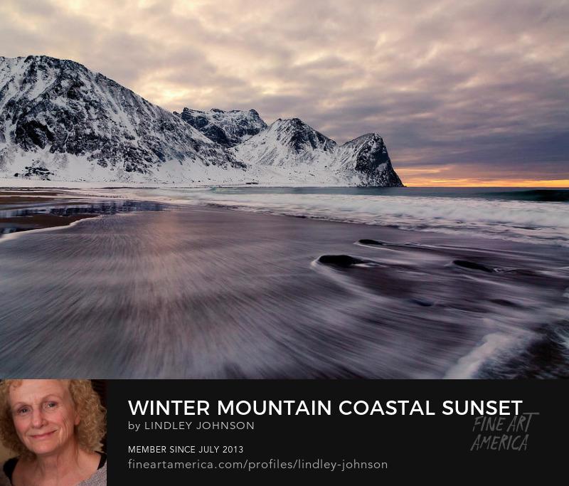 winter mountain coastal sunset by lindley johnson
