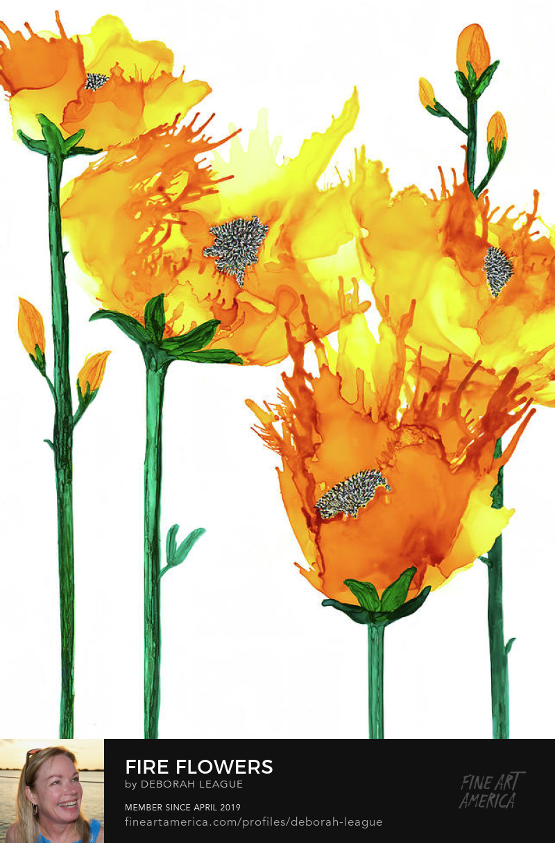Yellow orange abstract flowers alcohol ink art Deborah League