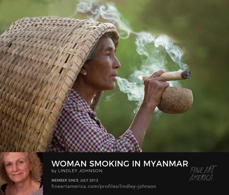 woman smoking in myanmar by lindley johnson