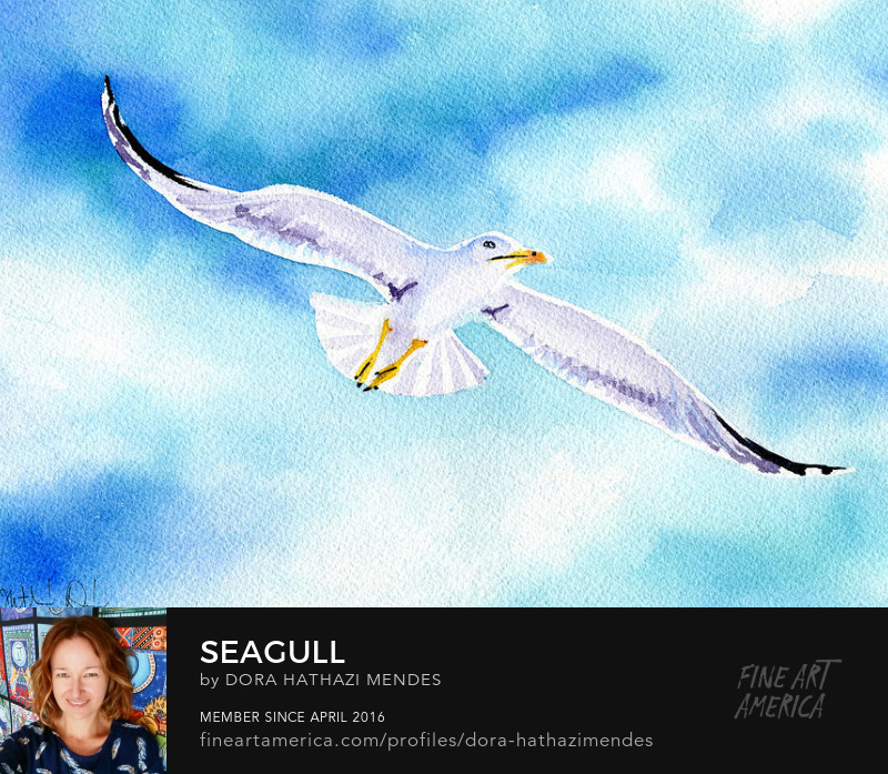 Seagull watercolor painting
