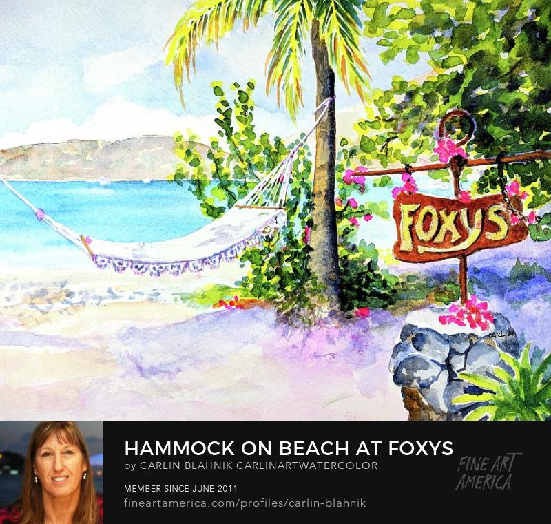 Foxys Jost van Dyke Watercolor Art Prints by Carlin Blahnik