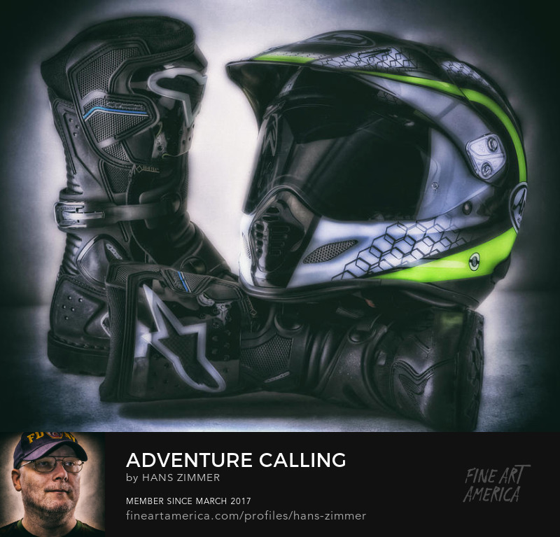 Motorbike adventure safety gear boots and helmet by hans zimmer