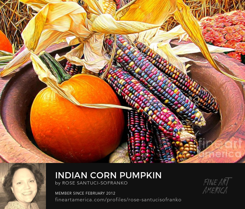 Indian Corn Pumpkin and Chrysanthemums with an Abstract Effect Art