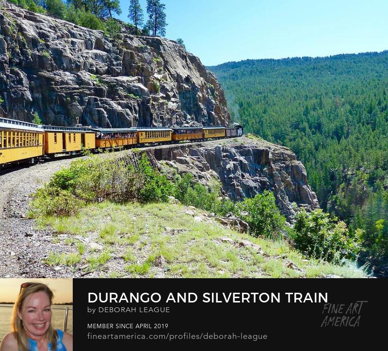 Photographic art print of the Durango & Silverton train going up the mountain