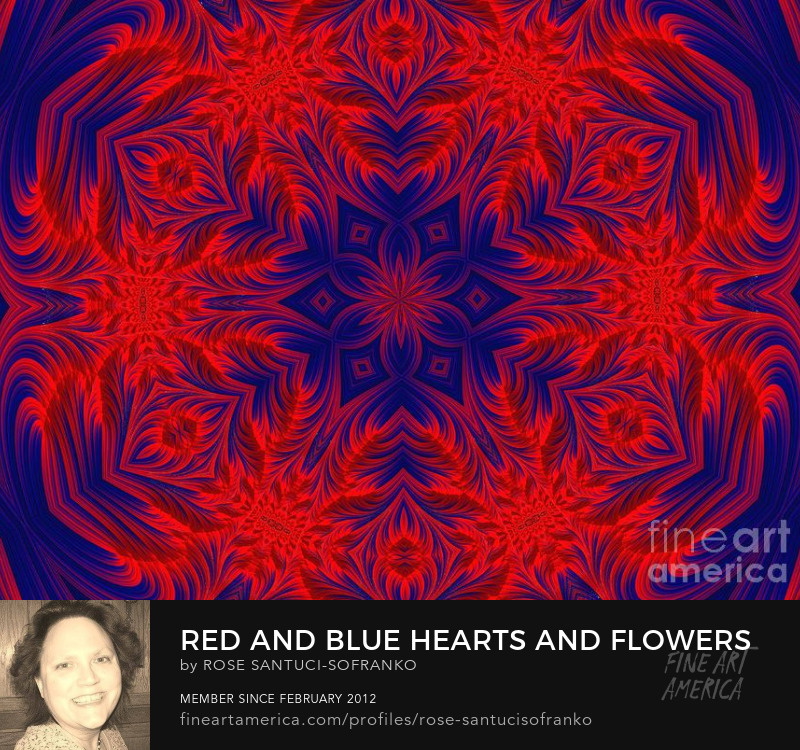 Red And Blue Hearts And Flowers Fractal Mandala Abstract Prints