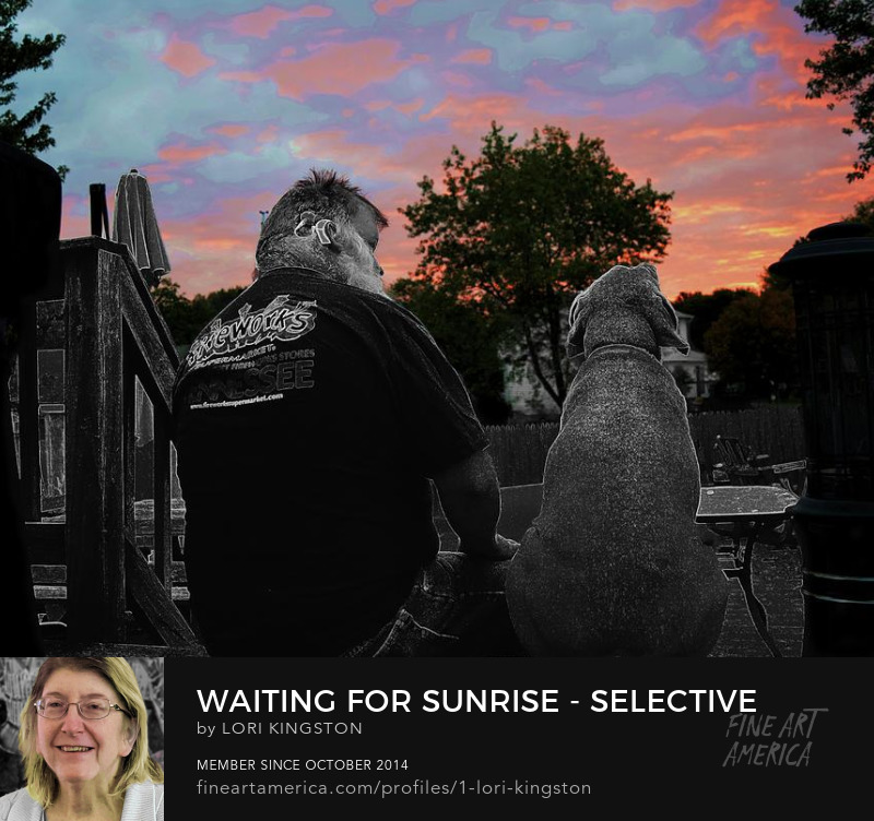 man and dog watch sunrise prints by LoriPeace9Art for sale