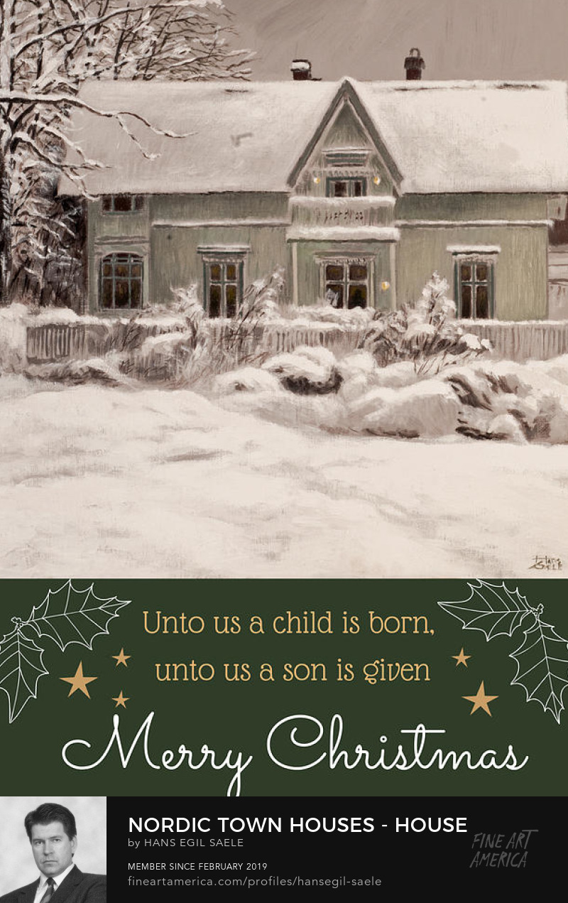 old house in snow christmas card painting with bible verse