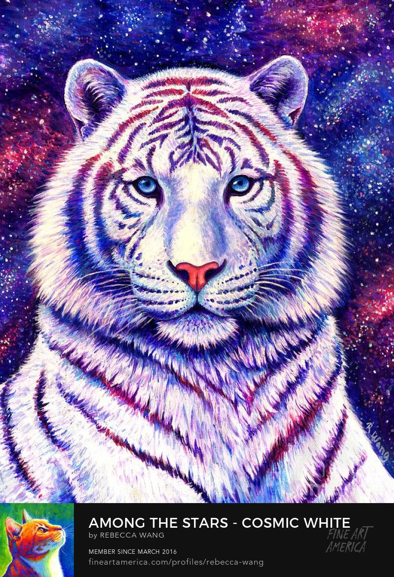 Celestial Tiger Cosmos Stars Fantasy Colorful