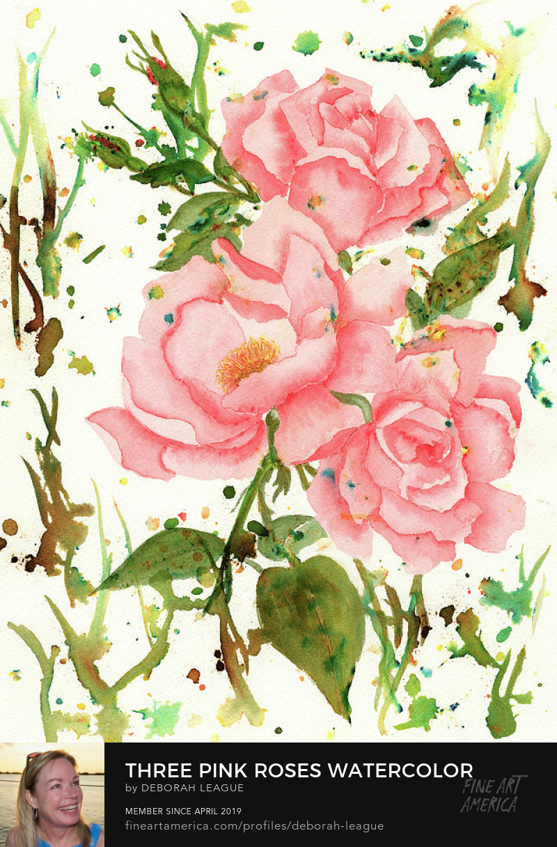 pink roses on stem abstract background deborah league watercolor