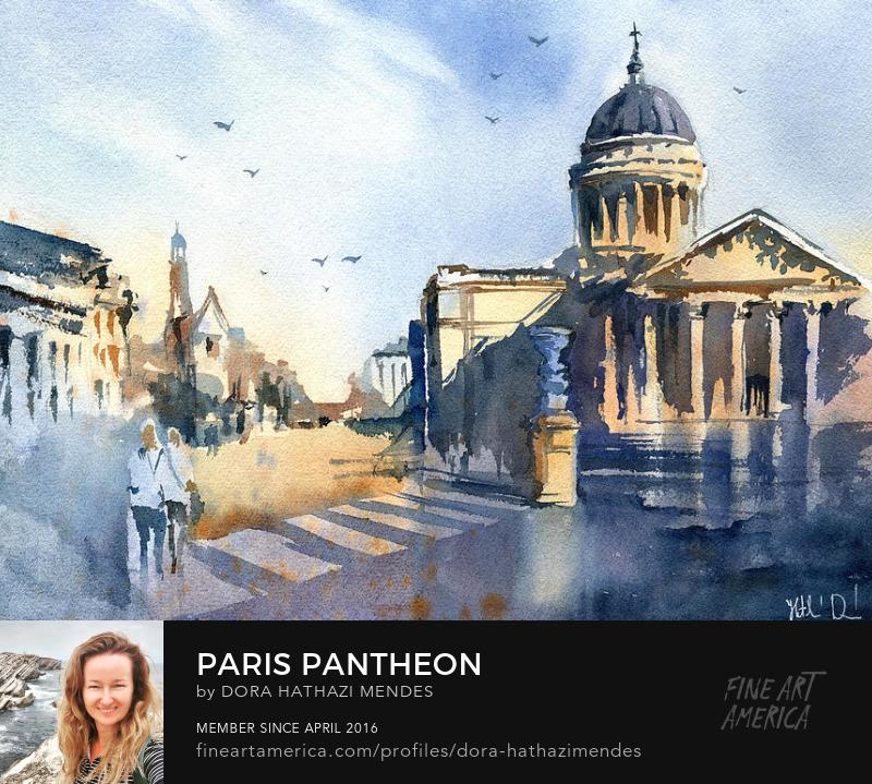 A watercolor painting about the Paris Pantheon by Dora Hathazi Mendes