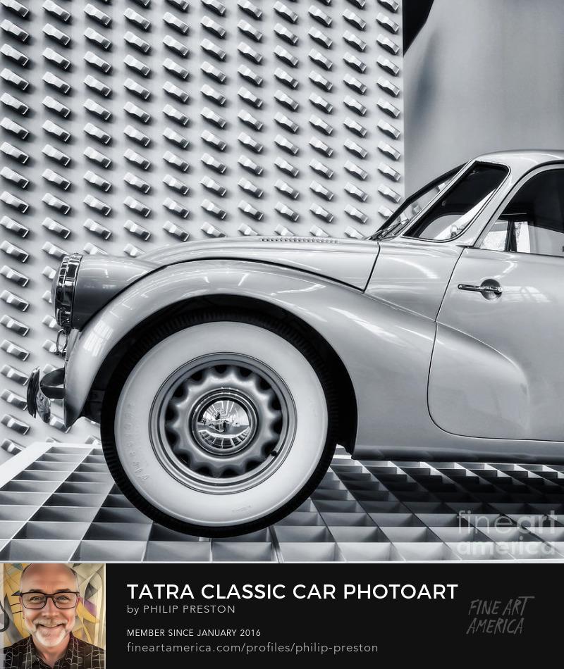 Tatra car monochrome photograph by Philip Preston