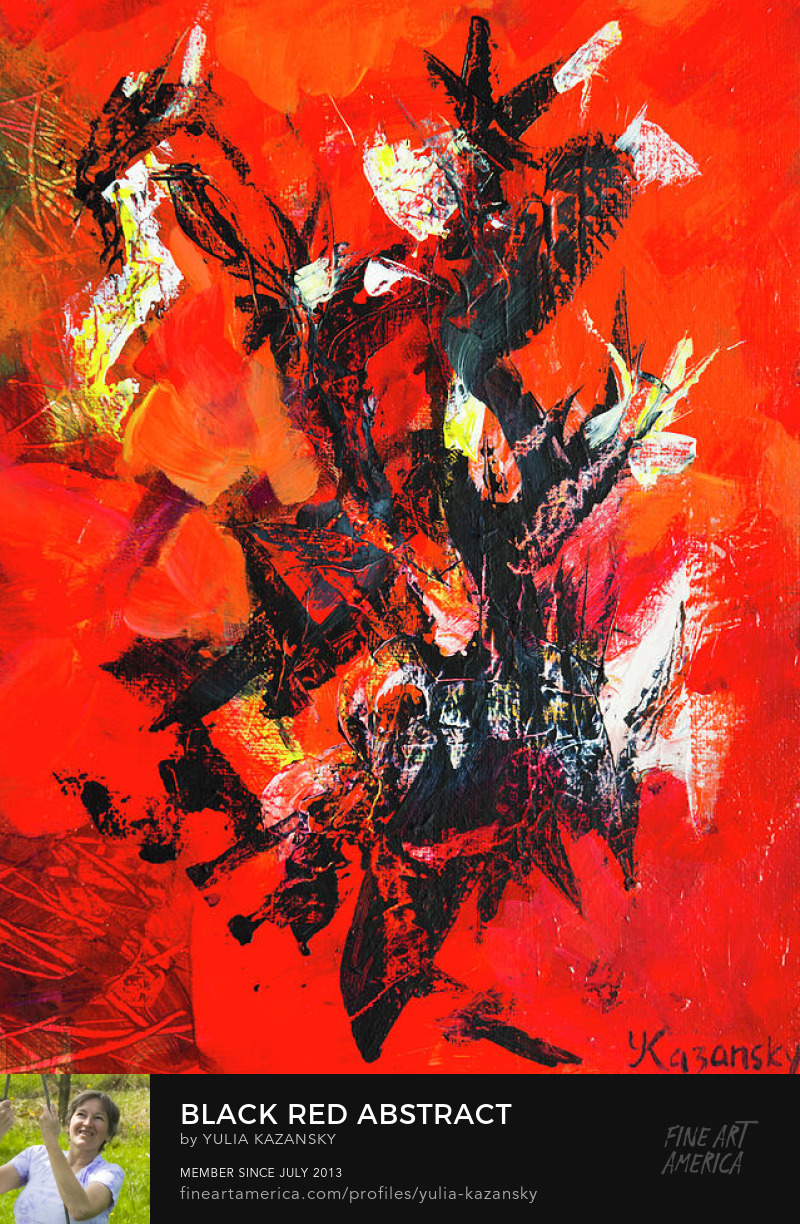 Black Red abstract painting by Yulia Kazansky