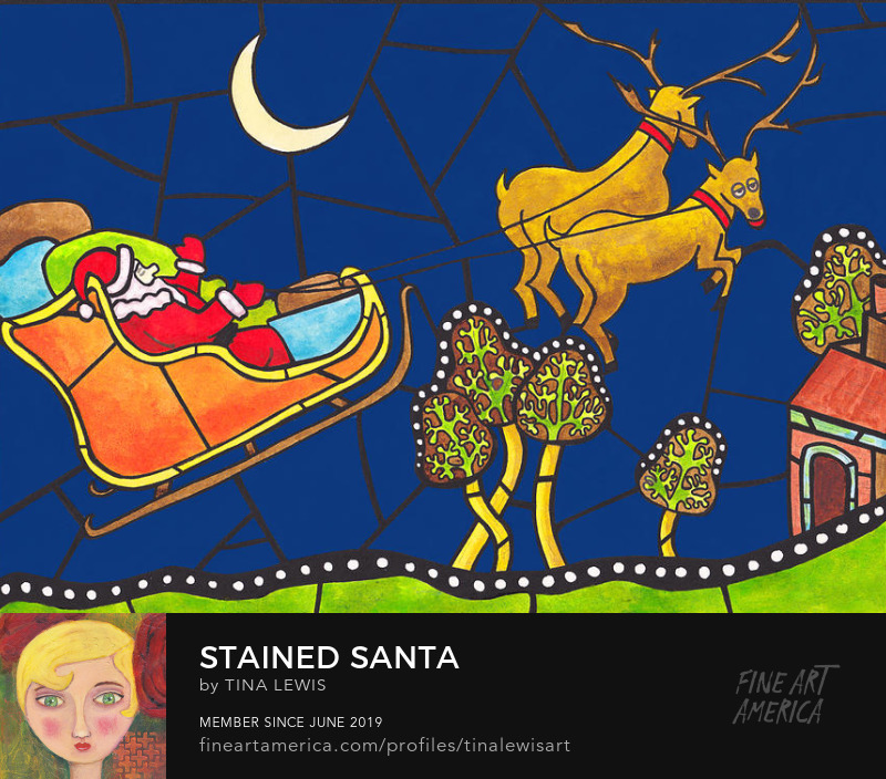 Santa rides his sleigh art prints