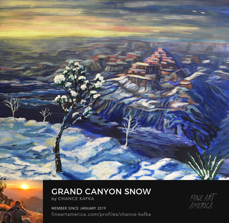 Grand Canyon Snow from Yavapai Point Painting