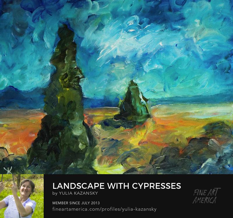 Landscape with cypresses by Yulia Kazansky