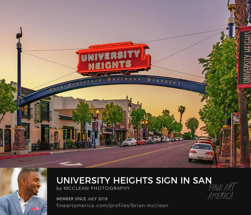 University Heights, San Diego Metal Wall Art Print by McClean Photography