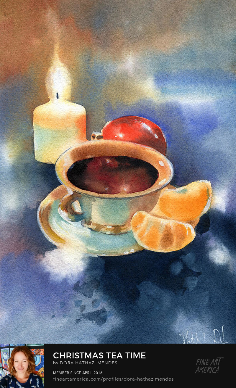 Christmas Tea Time watercolor painting Dora Hathazi Mendes art prints