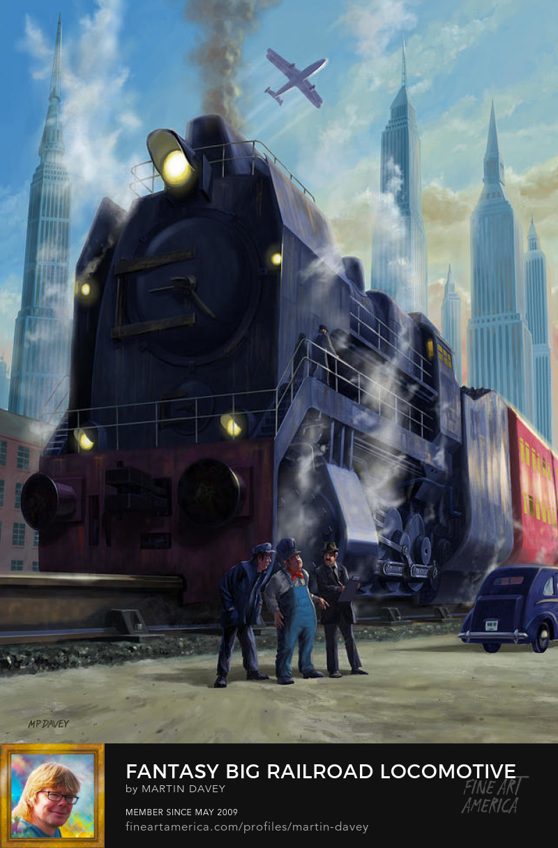 fantasy giant steam locomotive at city art