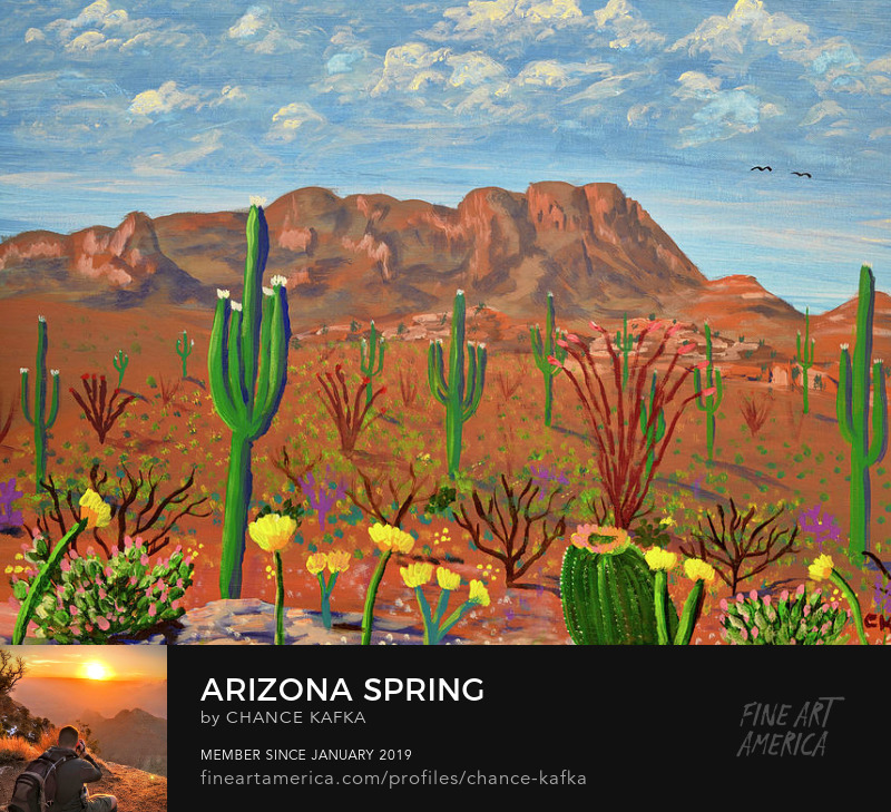Arizona Spring and Tucson Mountains Desert Painting Prints