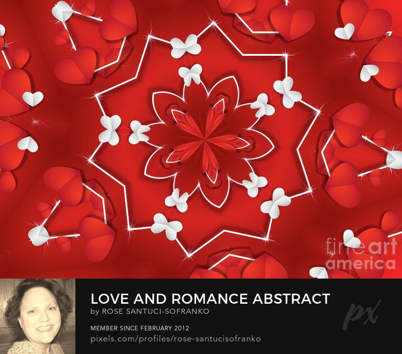 Saint Valentines Day Love And Romance Abstract Mandala Series Red And White Hearts And Butterflies