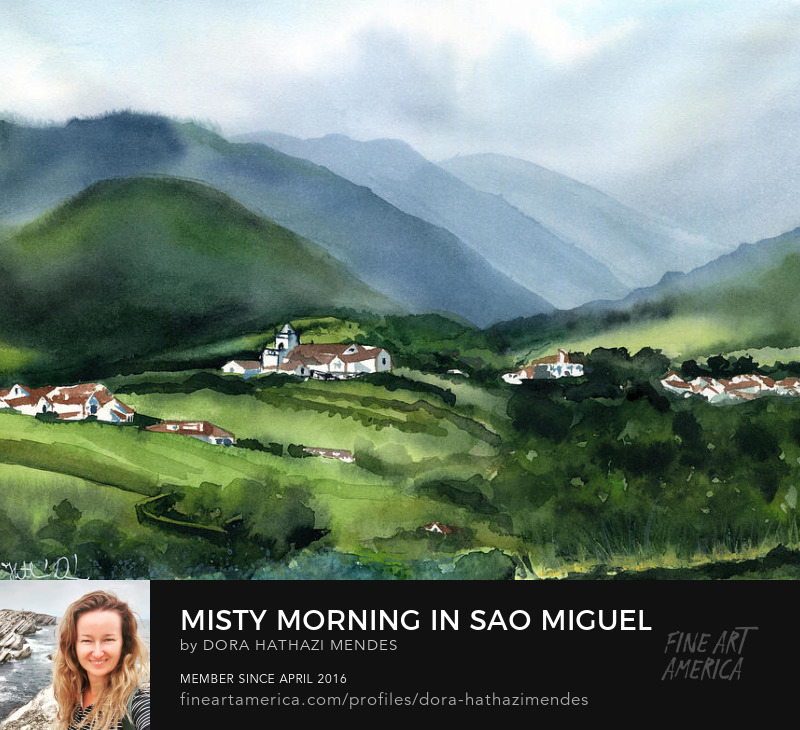 Misty Morning in Sao Miguel Azores Portugal painting by Dora Hathazi Mendes art prints