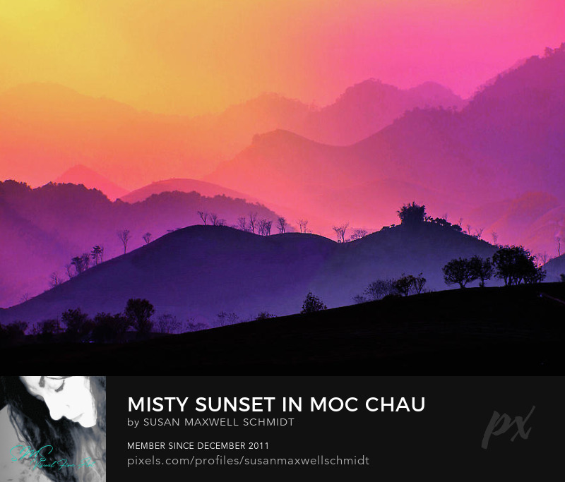 Misty Sunset in Moc Chau print by Susan Maxwell Schmidt