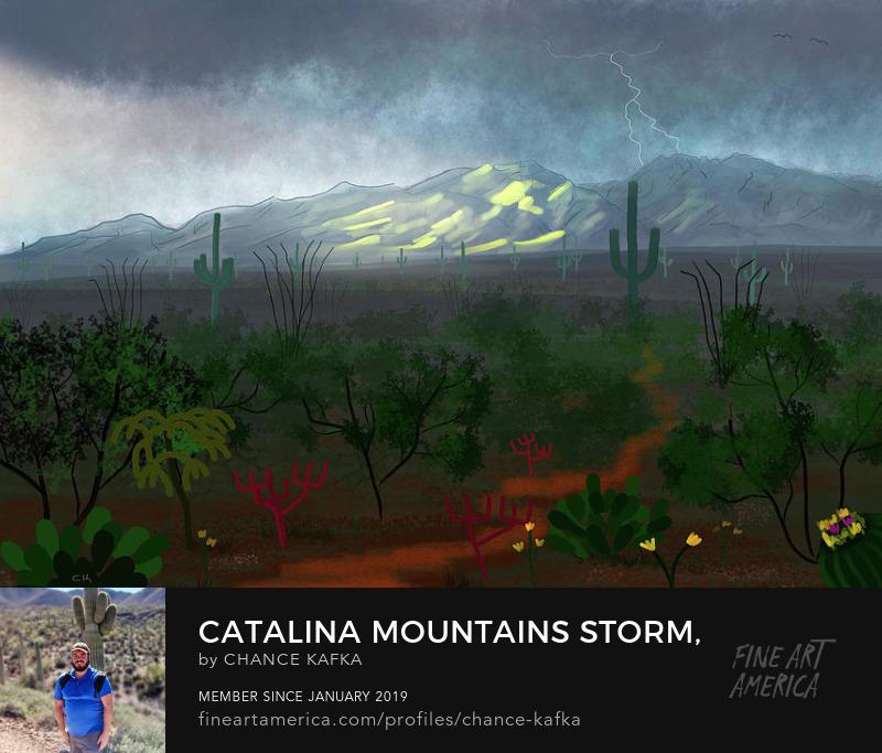 Catalina Mountains Storm Tucson Arizona painting Prints