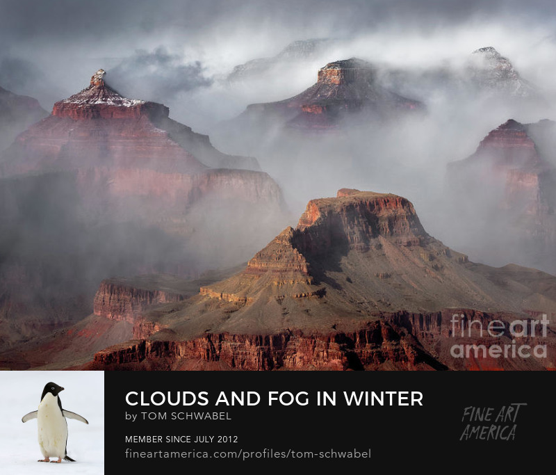 Clouds and Fog in Winter at Grand Canyon National Park in Arizona