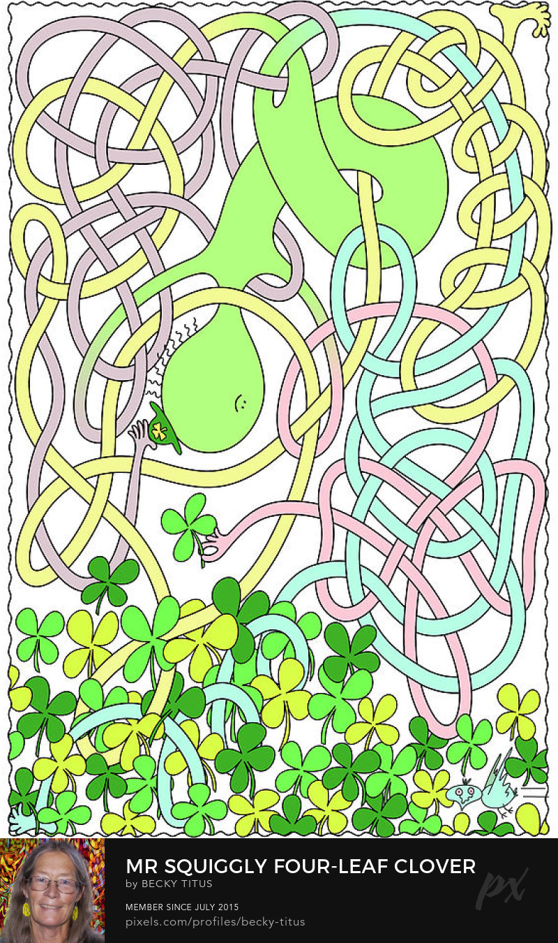 Mr Squiggly Four-Leaf Clover by Becky Titus